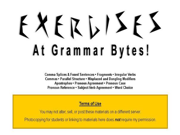 Exercises At Grammar Bytes