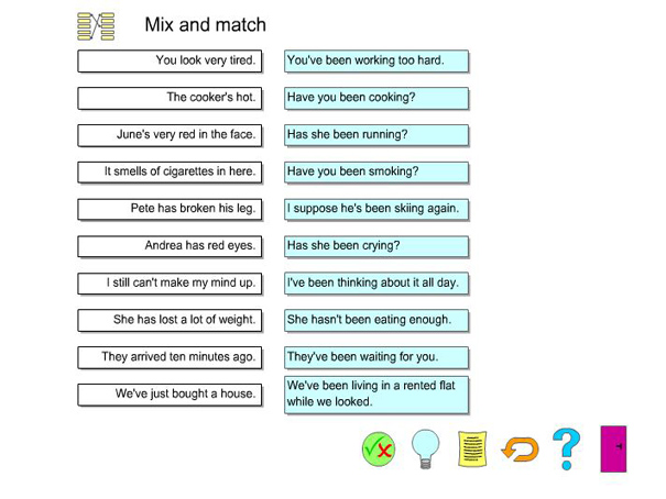 Present Perfect Continuous Mix And Match English Guide Org