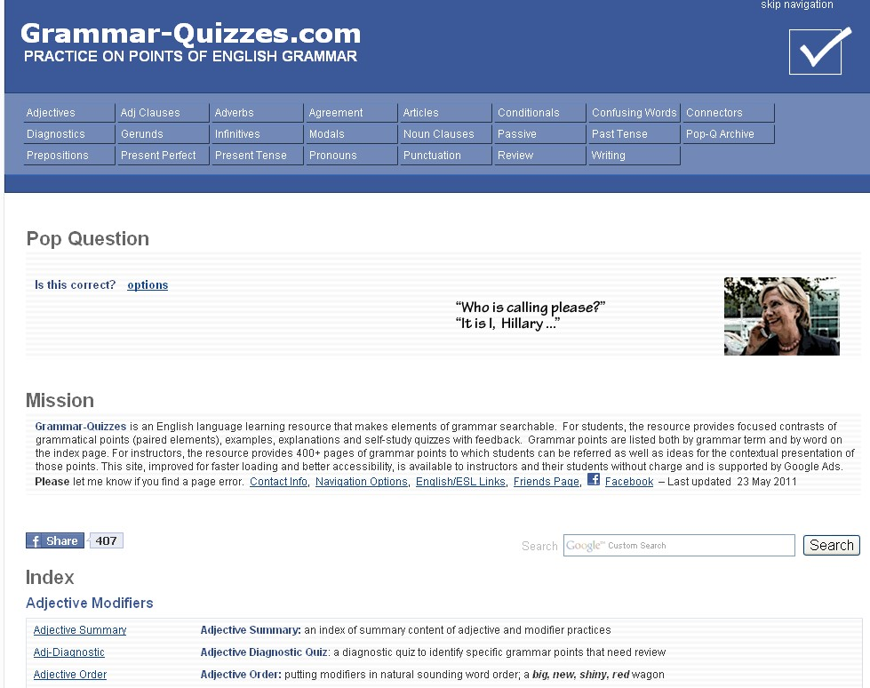 Grammar-Quizzes: Practice on Points of English Grammar (ESL