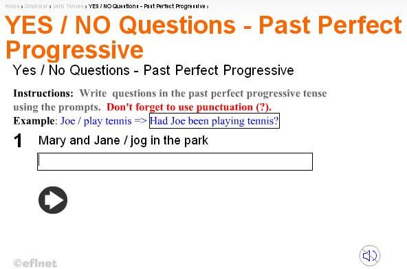 past perfect continuous questions