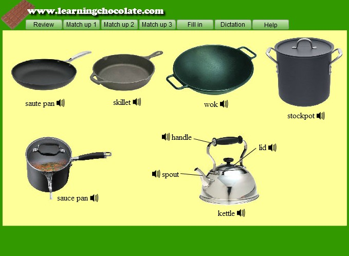 Kitchen pots names for Kitchen set name in english