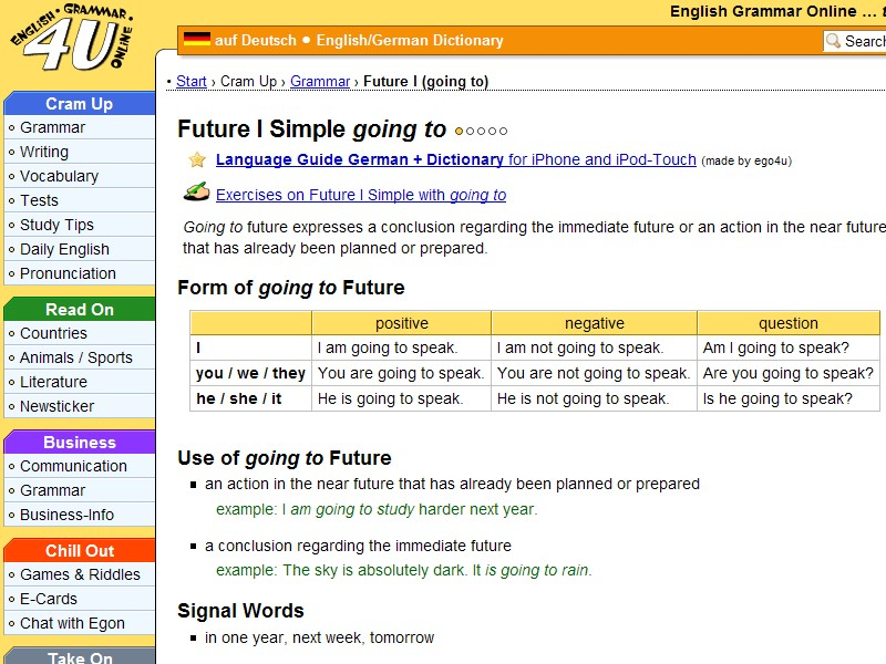 Future tense going to exercises online