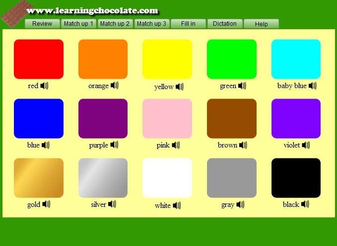 colors vocabulary english. Black Bedroom Furniture Sets. Home Design Ideas
