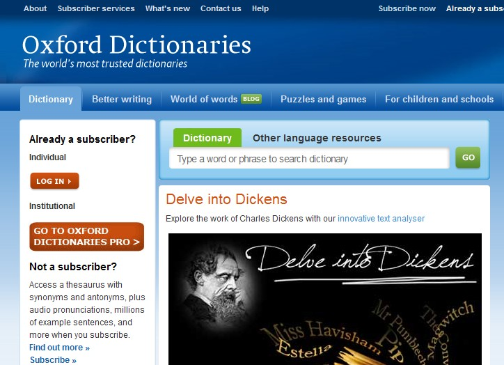 Oxford Dictionaries Online   EnglishGuide