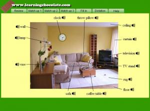 English for Living room vocabulary