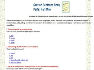 quiz on sentence body parts part one